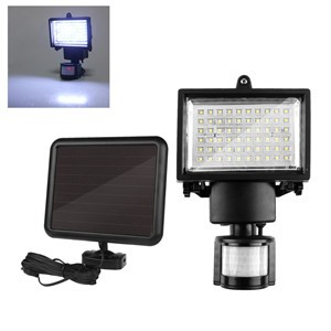 LemonBest-60 LED Solar Motion Light Security Lamp with PIR for Driveway Porches Decks Sheds 5m Detection Range