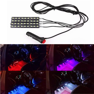 4PCS Car LED Strip Light Atmosphere Lamp Kit Foot Lamp Decorative Light