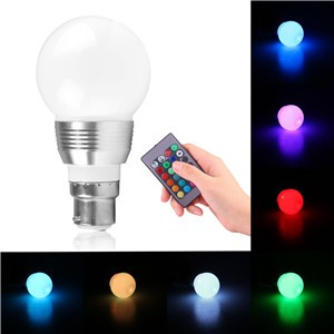 LemonBest-16 Colors 3W B22 Changing RGB LED Light Bayonet Bulb with Remote Control Lamp  AC85-240V