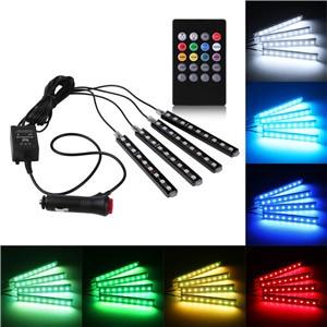 4PCS Car Music Control RGB Strip Light Atmosphere Lamp Kit Foot Lamp Decorative Light with IR Remote