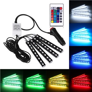 4PCS Car RGB LED Strip Light Atmosphere Lamp Kit Foot Lamp Remote Control Decorative Light
