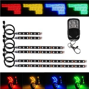 6PCS RGB Vioce Control LED Car Motorcycle Glow Lights 5050SMD Flexible Neon Strips Kit Chopper Frame