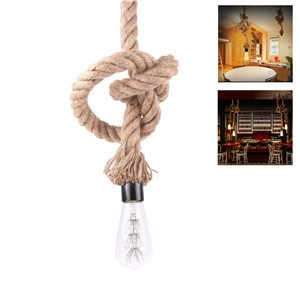 LemonBest-2.5m/8.2ft Braided Rope Vintage Industrial Loft Ceiling Lamp Holder Lighting E27 Socket (No Bulb Included)