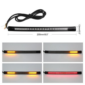 "Universal Flexible 48-LED Motorcycle Light Strip Tail Brake Stop Turn Signal Lights License Plate Light 8"" SMD 2835 3014"