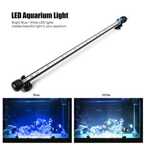 Submersible Underwater Blue / White 12 LED Aquarium Light Fish Tank Lamp with ON/OFF Switch for Pool Pond Decoration AC 100-240V UK/US/EU Plug