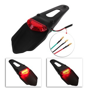 LemonBest-Universal Dirt Fender LED Taillight Rear Tail Brake Light for Bike Offroad Motorcycle