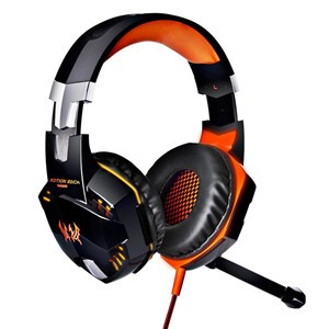 EACH G2000 LED Lighting 3.5mm Stereo Gaming Over-Ear Headphone Headset with Mic for PC Computer Game with Noise Canelling Orange