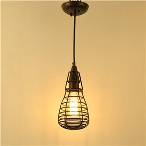 Vintage Loft Pendant Light Sconce Industrial Edison Lighting Black Wire Cage Lamp Holder E27 Socket (No Bulb Included)