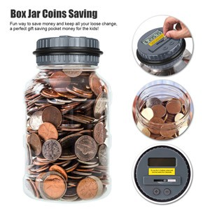 Creative Large Digital Coin Counting Money Saving Box Jar Bank LCD Display Coins Saving Gift (Dollar)