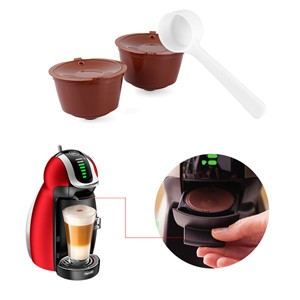 2pcs Refillable Dolce Gusto Capsules Reusable Coffee Capsules Compatible with Nescafe Genio, Piccolo, Esperta and Circolo (with Coffee Spoon)
