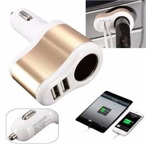 12V-24V Dual USB Car Cigarette Lighter Socket Adapter Charger 3.1A