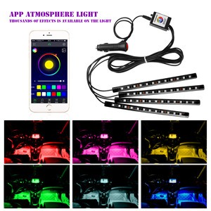 4pcs Bluetooth Phone Control Car Interior RGB Strip Light Flexible Atmosphere Lamp Kit Foot Lamp Decorative Voice/Music Control Timing for Android iOS