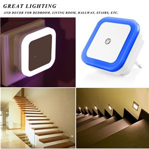 Mini Auto Night Lamp LED Light Built-in Ligh Sensor Control Blue Bedside Light Wall Lamp US/EU Plug