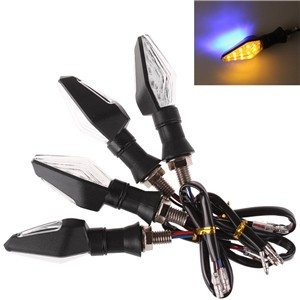 4pcs Universal Motorcycle Bike 12 LED Turn Signal Indicator Light Dual Color Blue and Amber Blinker Lamp