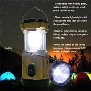 Multi-function Rechargeable Collapsible LED Solar Camping Light & Flashlight & USB Power Bank Portable Tent Lamp Lantern Ourdoor Hiking with Handle