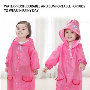 Cute Kids Cartoon Raincoat Poncho Rainwear Rainsuit for Children Age 3-8 Years