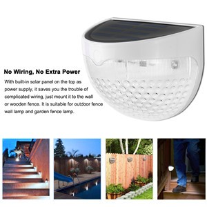 LemonBest-Waterproof Solar 6 LED Fence Light Wall Lamp Warm White Auto ON/OFF At Night for Stairs Outdoor Posts Garden Fence Yard Roof