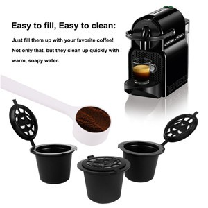 5Pcs Refillable Reusable Coffee Capsule Filter Compatible with Nespresso (with Coffee Spoon)