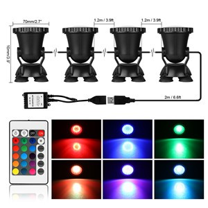 4pcs Remote Control RGB 36-LED Underwater Spot Light IP68 for Water Aquarium Garden Pond Fish Tank Lighting