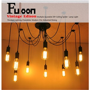 Vintage Edison Industrial Style 6 Head Chandelier Pendant Light DIY Ceiling Lamp
