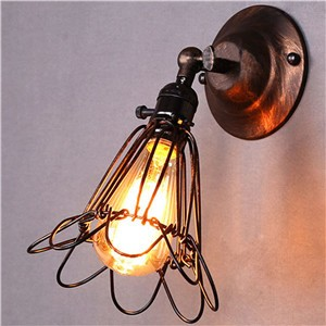 LemonBest-Vintage Restro Edison Birdcage Style Small E27 Wall Light Sconce Fixtures Lamp Holder