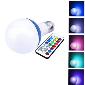 LemonBest-10W 800LM E27 RGB LED Light Bulb 12 Color Cool White Dimmable Lamp with Remote Control Timing Function