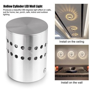 Modern Aluminum Hollow Cylinder 5W LED Wall Lamp Ceiling Light Indoor Outdoor AC 85-265V