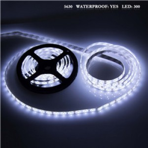 LemonBest - (Cool) 5630 5M White 300 SMD 12V LED Flexible Strip Light Waterproof