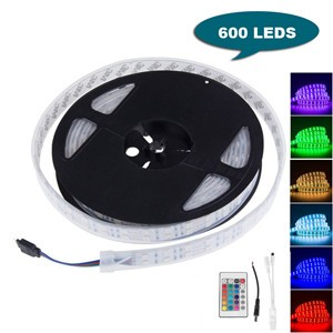 LemonBest-16FT 5M Double Row SMD 5050 Silicone Tube RGB LED Strip Light 600 LEDs Flexible Waterproof Color Changing   Light Strip with 24 Keys Remote
