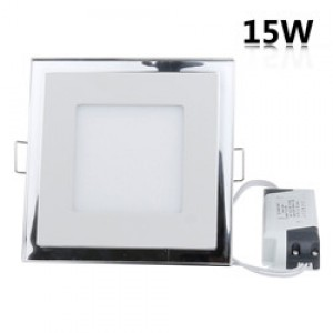 LemonBest - 15W Recessed Square Shape DuaL Color LED Panel Light Blue and White Lamp Downlight AC 100-245V