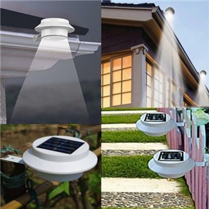 LemonBest-Solar Powered 3 LED Fence Light Auto ON/OFF for Gutter Outdoor Garden Yard   Lamp Roof
