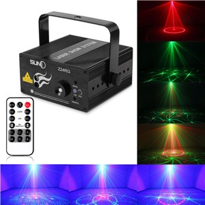 LemonBest-SUNY Red & Green Stage Laser Light DJ Club Disco Projector Sound Control/AUTO Function with Remote for Holiday Xmas AC 100-240V US Plug
