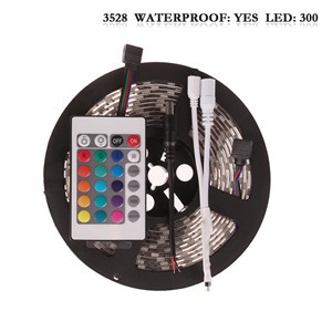 LemonBest - (Waterproof) 5M/roll 300 LEDs RGB SMD 3528 Flexible led Strip Light with 24Keys IR Remote